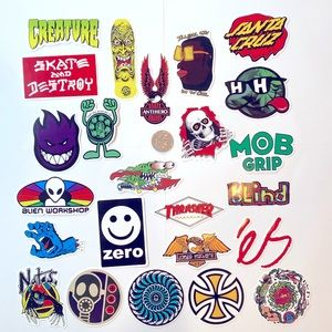 24 Vinyl skateboarding stickers
